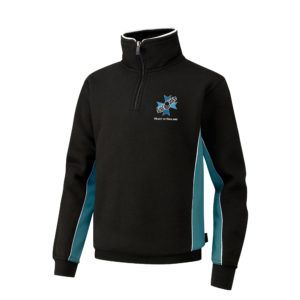 Heart of England 1/4 Zip Sweat Shirt (Falcon) - Black / Teal Shop
