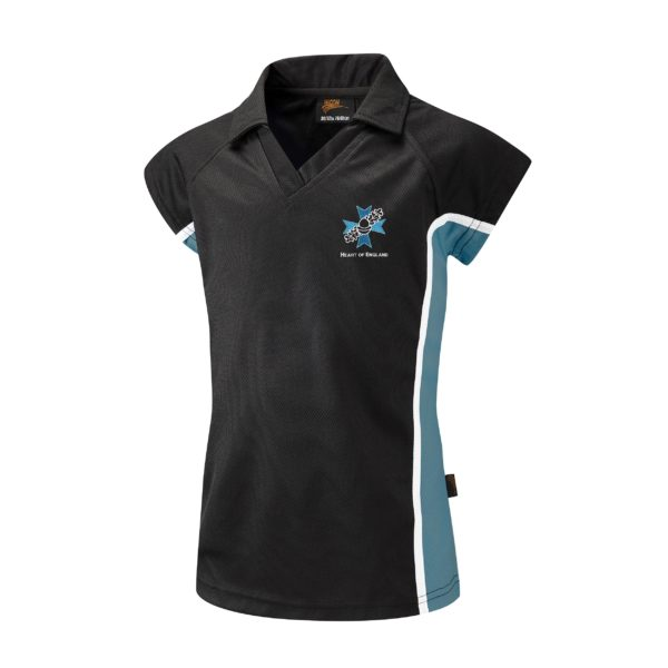 Heart of England Fitted Polo Shirt (Falcon) - Black / Teal Shop