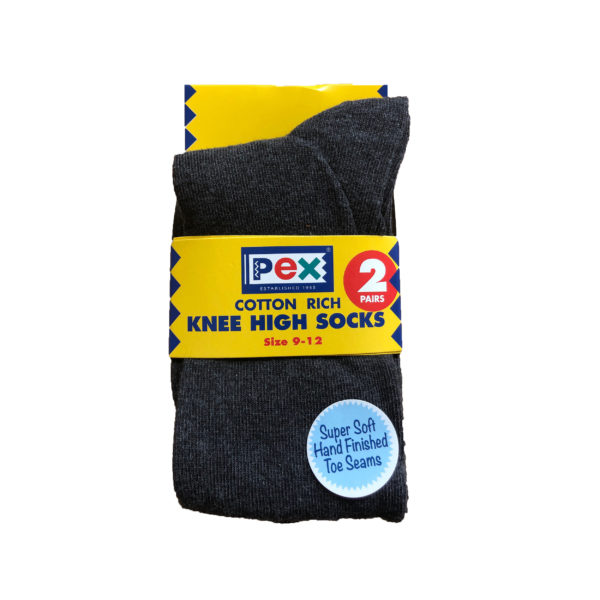 Knee High Girls Sock Twin Pack (Pex) - Grey Shop