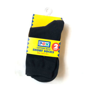 Short Socks Twin Pack (Pex) - Black